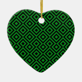 Black And Dark Green Square 001 Pattern Ceramic Heart Decoration