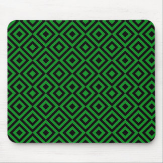 Black And Dark Green Square 001 Pattern Mouse Pad