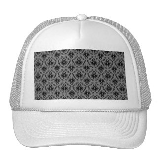 Black and Deep Gray Damask Design. Trucker Hat