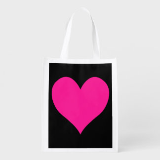 Black and Deep Pink Cute Heart Shape Reusable Grocery Bag