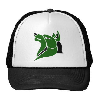 Black and Dk Green Solid Wolf Head Cap