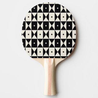 Black-and-Ecru Pattern Ping-Pong Paddle
