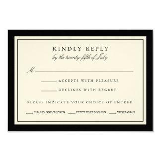 Black and Ecru Wedding RSVP Card w/ Meal Options 9 Cm X 13 Cm Invitation Card