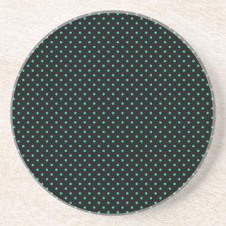 Black And Emerald Green Small Polka Dots Pattern Beverage Coasters