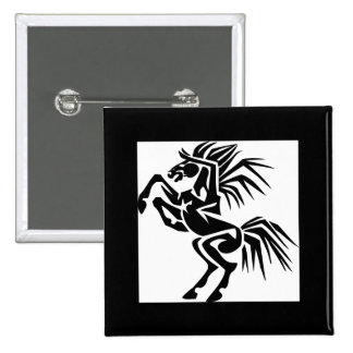 Black and Excited Horse 15 Cm Square Badge