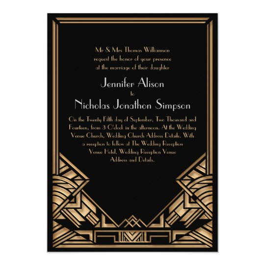 Black and Faux Gold Art Deco Gatsby Style