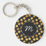 Black and Faux Gold Big Dots Basic Round Button Key Ring