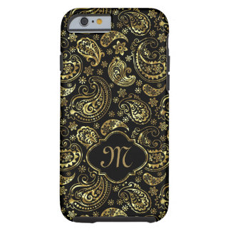 Black And Faux Gold Elegant Floral Paisley Tough iPhone 6 Case