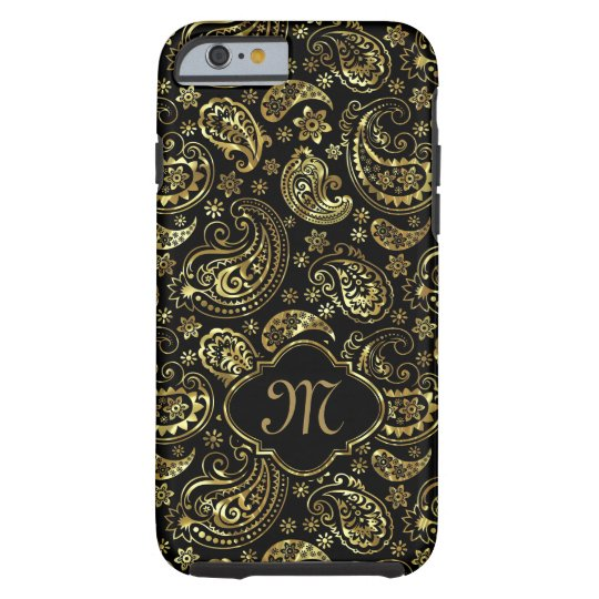Black And Faux Gold Elegant Floral Paisley Tough