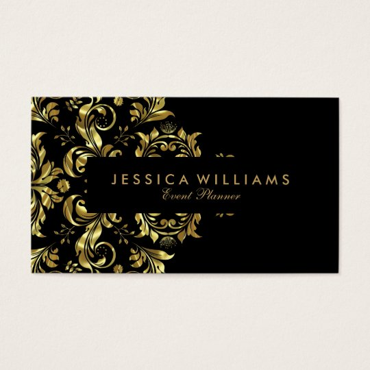Black And Faux Gold Floral Lace Business Card