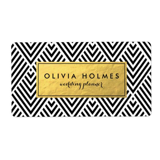 Black and Faux Gold Foil Chevron Label Shipping