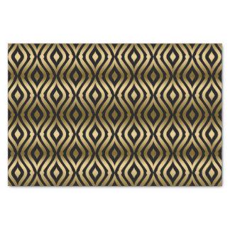 Black And Faux Gold Geometric Quatrefoil Pattern Tissue Paper