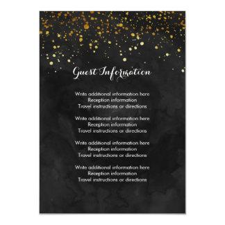 Black and Faux Gold Glitter 11 Cm X 16 Cm Invitation Card