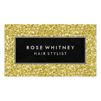 Black and Faux Gold Glitter Creative Business Card