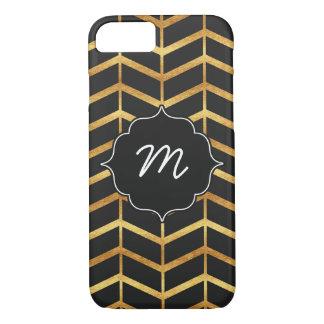 Black and Faux Gold Herringbone iPhone 7 Case
