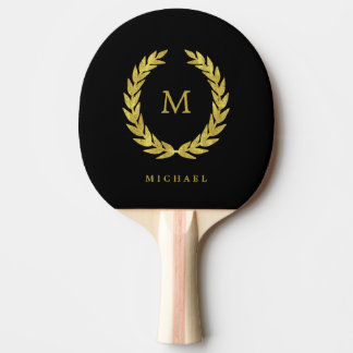 Black and Faux Gold Laurel Wreath with Monogram Ping Pong Paddle