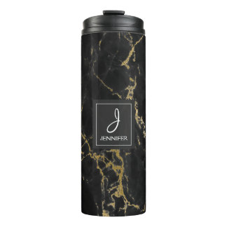 Black and Faux Gold Marble Elegant Monogram Thermal Tumbler