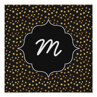Black and Faux Gold Messy Dots Poster