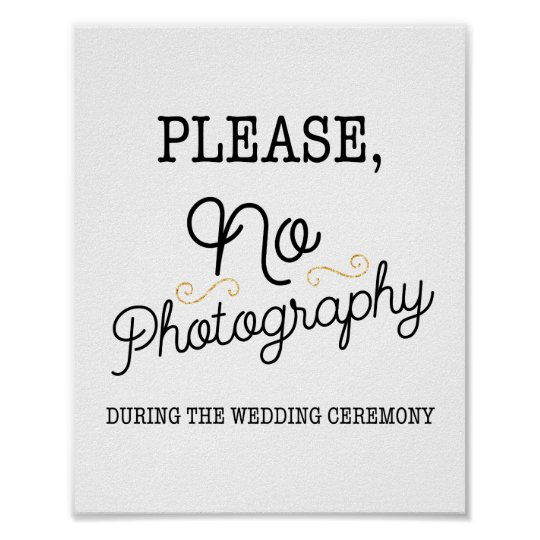 Black and Faux Gold No Photography Wedding Sign