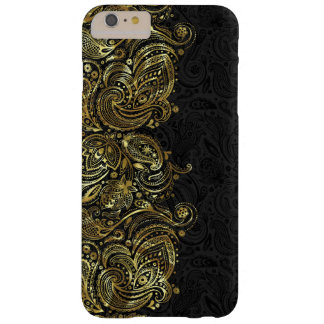 Black And Faux Gold Paisley Lace Barely There iPhone 6 Plus Case