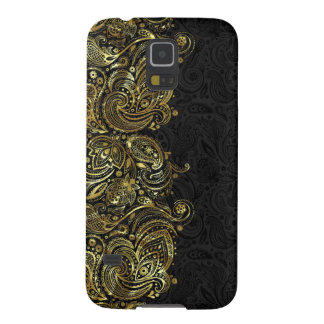 Black And Faux Gold Paisley Lace Galaxy S5 Cover