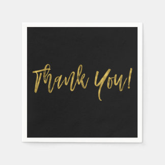 Black and Faux Gold Thank You Gold Foil Napkins Disposable Napkins