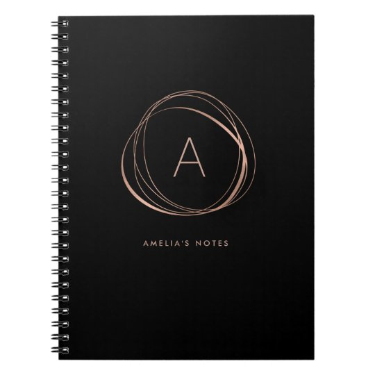 Black and Faux Rose Gold Monogram Spiral Notebook