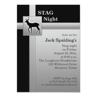 Black and FAUX Silver Gray Stag Invitation