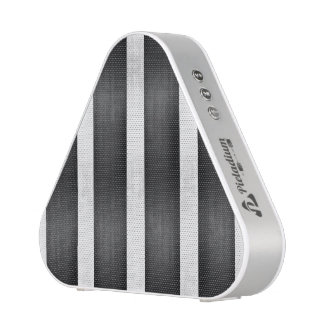 Black and Faux Silver Stripes Bluetooth Speaker