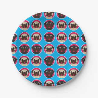 Black and Fawn Pug Heads in Circles Party Plates