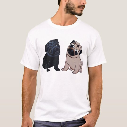 Black and Fawn Pug Puppies T-shirt