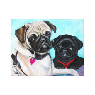 Black and Fawn Pugs Canvas Print
