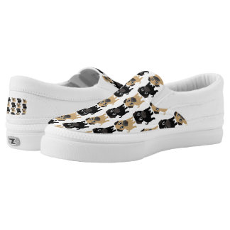 Black and Fawn Pugs Printed Shoes