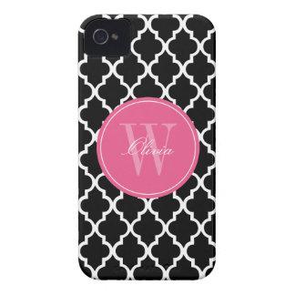 Black and Fuchsia Quatrefoil Monogram iPhone 4 Case-Mate Case