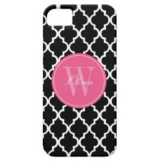 Black and Fuchsia Quatrefoil Monogram iPhone 5 Covers