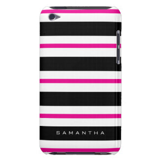 Black and Fuchsia Stripes Barely There iPod Cases
