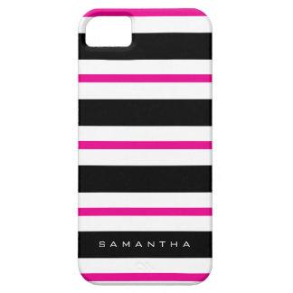 Black and Fuchsia Stripes iPhone 5 Covers
