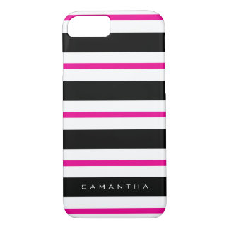 Black and Fuchsia Stripes iPhone 7 Case
