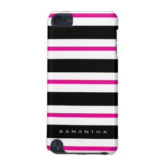 Black and Fuchsia Stripes iPod Touch 5G Cases