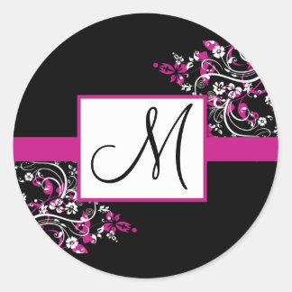 Black and Fuschia Monogram Wedding Stickers