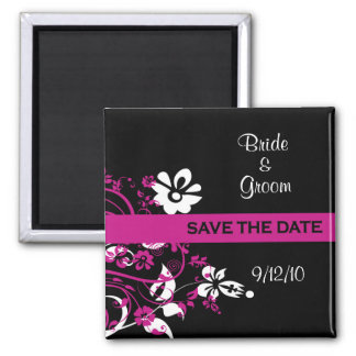 Black and Fuschia Save the Date Magnets