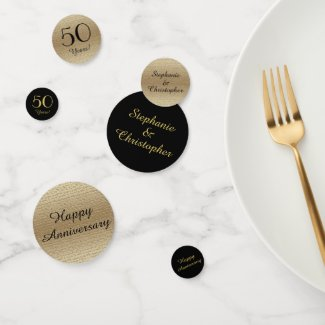 Black and Gold 50th Anniversary Table Decoration Confetti