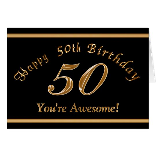 Black and Gold 50th Birthday Card with YOUR