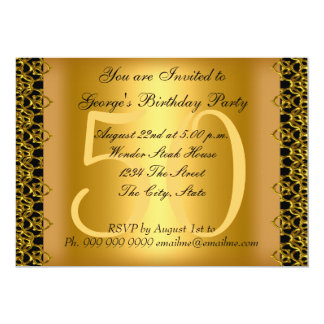 Black and Gold 50th Birthday Party 13 Cm X 18 Cm Invitation Card