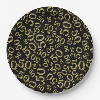 Black and Gold 50th Birthday Party Collage Theme Paper Plate