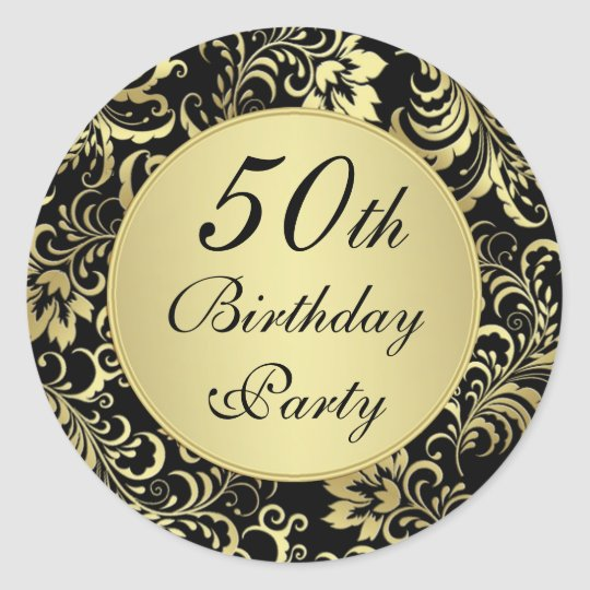 Black and gold 50th Birthday Party Sticker