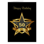 Black and Gold 50th Birthday Star