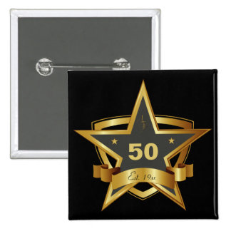 Black and Gold 50th Birthday Star 15 Cm Square Badge