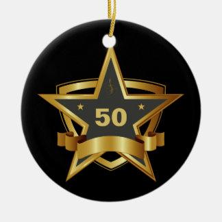 Black and Gold 50th Birthday Star Round Ceramic Decoration