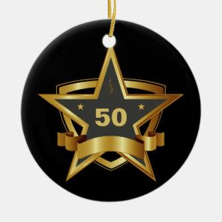 Black and Gold 50th Birthday Star Round Ceramic Decoration